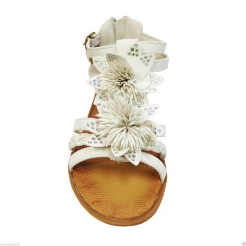 Filles enfants Fleur Strass Gladiateur Mi Talon Bas Plage chlildren Sandales Chaussures