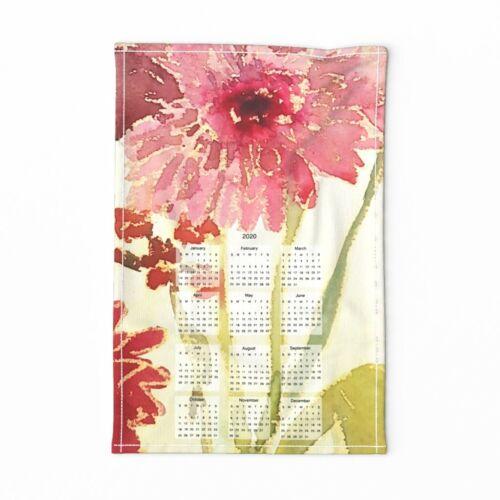 Spoonflower Tea Towel calendar 2020 watercolor floral Linen Cotton