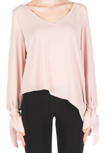 Joseph-Ribkoff-Blush-Pink-Poet-Long-Sleeve-V-Neck-Top-US-10-UK-12-NEW-183291