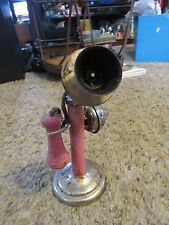 Vintage N.N. Hill Brass Toy Co.Tin Candlestick Telephone w/ Bell Pink 9432