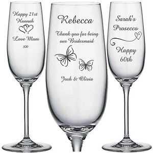 2a987141d66 Image is loading Personalised-Engraved-Champagne-Flute-glass-Prosecco -Bridesmaid-Wedding-