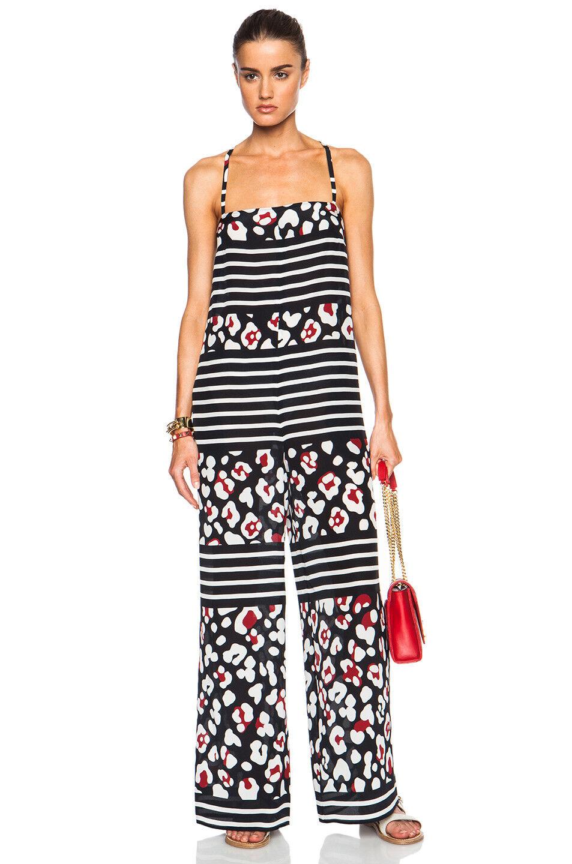 Red Valentino Summer Leopard & Stripe Jumpsuit SZ