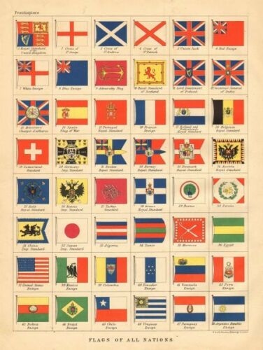 NATIONAL FLAGS Royal /& Imperial Standards Ensigns JOHNSTON 1897 old map