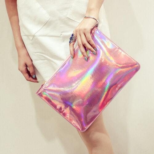 Holographic Laser Metallic Shine Handbag Messenger Bag Envelope Clutch Evenin DP