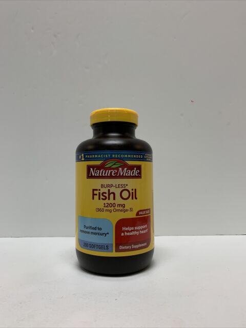 Nature Made Burp-Less Fish Oil - 1200 mg. - 200 Softgels Exp: Mar 2022