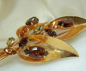 Very-Elegant-Large-Vintage-70-039-s-Navette-Rhinestone-Brooch-26O5