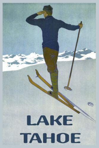 Ski Mountains of Lake Tahoe California Winter Sport Vintage Poster Repro FREE SH