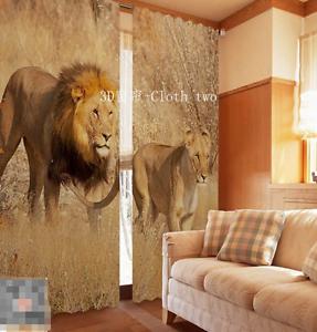 3D dos leones 326 Cortinas de impresión de cortina de foto Blockout Tela Cortinas Ventana Reino Unido