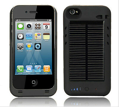 IPhone 4 4S Extended Solar Battery Charger External Case/Cover 2400mAh battery
