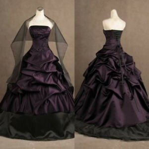 Details about Plus Size Gothic Black and Purple Wedding Dresses Vintage  Strapless Bridal Gowns