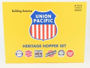 N-Scale-InterMountain-NSC-UP-Heritage-Hopper-6-Car-Set-SP-D-amp-RGW-MKT-WP-CNW-MP