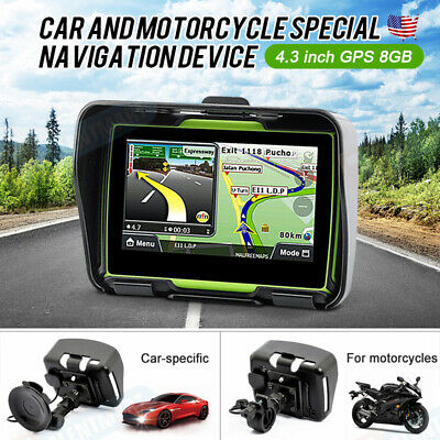 """4.3/"""" Touch Screen Bluetooth Motorcycle GPS System Car Navigation Sat Nav 8GB Map"""