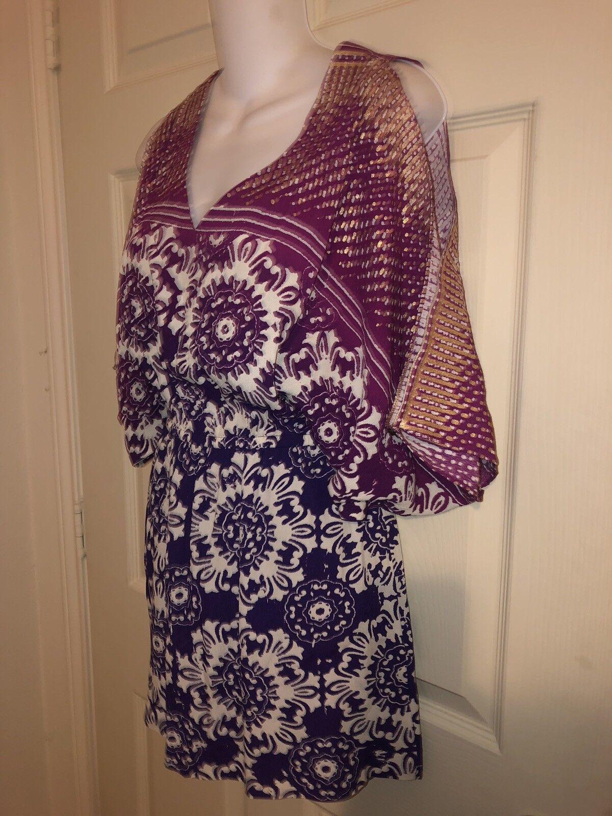 Nicole Miller Artelier 006082 Boho Cold Shoulder Elastic Waist Mini Dress Sz P