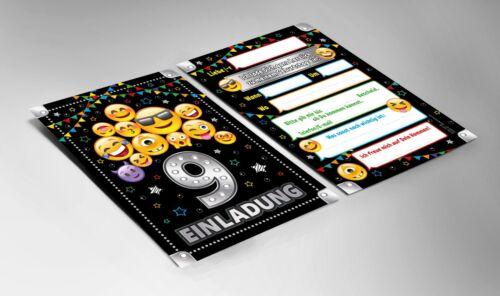 Einladungskarten 9 Geburtstag neunte Kindergeburtstag Umschläge Geschenktüten