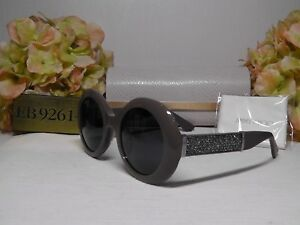 edf7637495fb JIMMY CHOO WENDY S Grey Mud Round Glitter Frame Sunglasses 51 23 140 ...