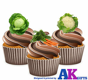 Edible Cake Decorations Vegetables : Allotment Gardener Garden Vegetable Mix 12 Edible Cup Cake ...
