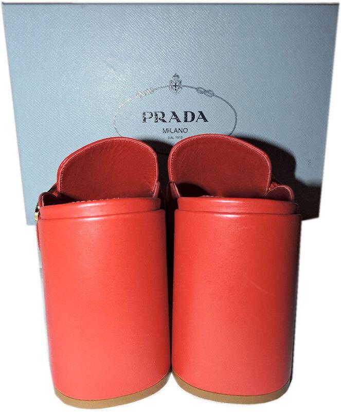PRADA Kiltie Fringe Slide Buckle Slide Fringe Mules Block Heel schuhe ROT Sandals Slingback 38 684b10