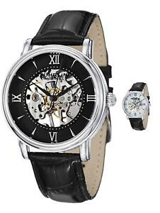 Stuhrling Men's 458G2 Stainless Steel Skeleton Watch with Extra Leather Strap