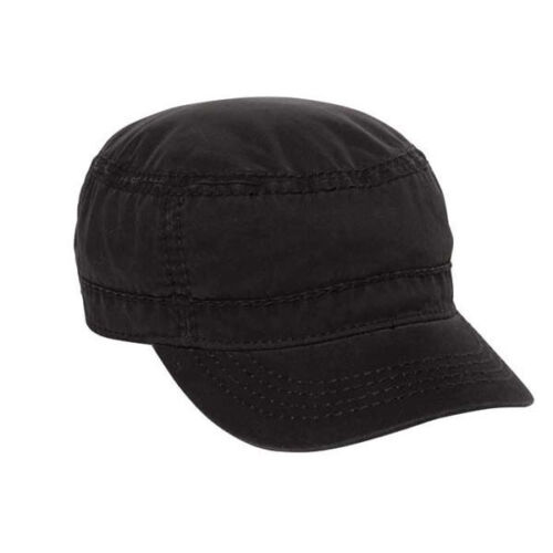12 Black  Vintage Distressed Enzyme Washed Army Cadet Hats
