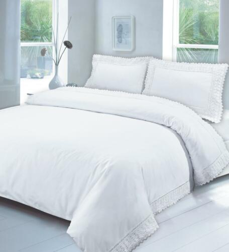 Premium LACE EMBROIDERY Duvet Cover With Pillow Cases Bedding Set 100/% Cotton