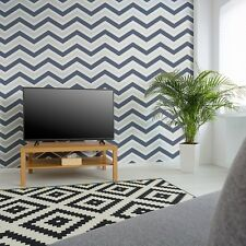 Chevron Retro Glitter Zig Zag Wallpaper by Coloroll - Blue M1149