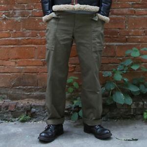Bronson-Vintage-WW2-HBT-M-42-Fatigue-Trousers-US-Army-Military-Men-039-s-Pants-Loose