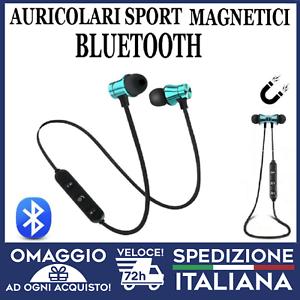 Auricolari-Bluetooth-Sport-Magnetici-Cuffie-Wireless-con-microfono-azzurri