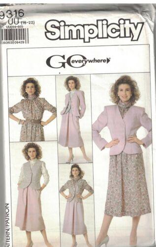 9316 UNCUT Vintage Simplicity SEWING Pattern Misses Skirt Blouse Vest Jacket OOP