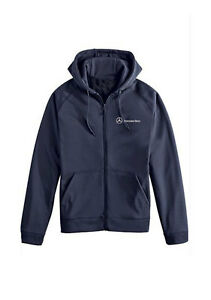 mercedes benz blue long sleeve full zip fleece hoodie. Black Bedroom Furniture Sets. Home Design Ideas