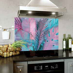 Glass Splashback Kitchen & Bathroom Panel ANY SIZE Abstract Neon Palms 0358