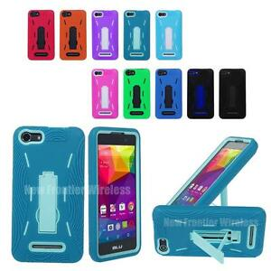 hot sale online af677 5df16 Details about For BLU Advance 5.0 Heavy Duty Hybrid Armor Kickstand Case +  Screen Protector