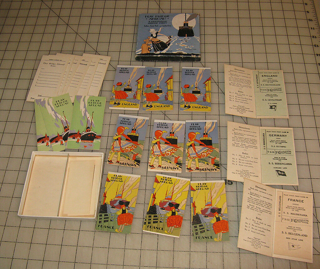 1927  Play Bridge Abroad  3 Table Set Tallies, Score Pads and Instructions w BOX