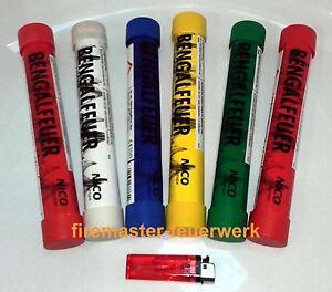 Bengalo-Bengal-Feuer-Fackeln-Rot-Gruen-Gelb-Blau-Party-Knaller-Boeller-Feuerwerk