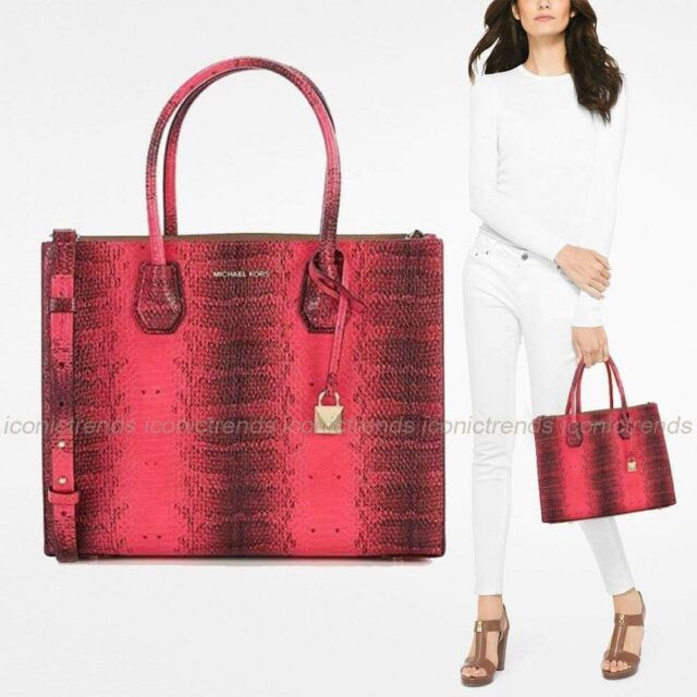 ccfb20d465e1 Michael Kors Mercer Studio Large Convertible Tote Ultra Pink Embossed  Leather
