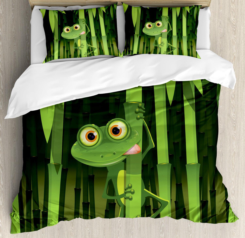 Bamboo Duvet Cover Set with Pillow Shams Jungle Trees Fun Frog Print