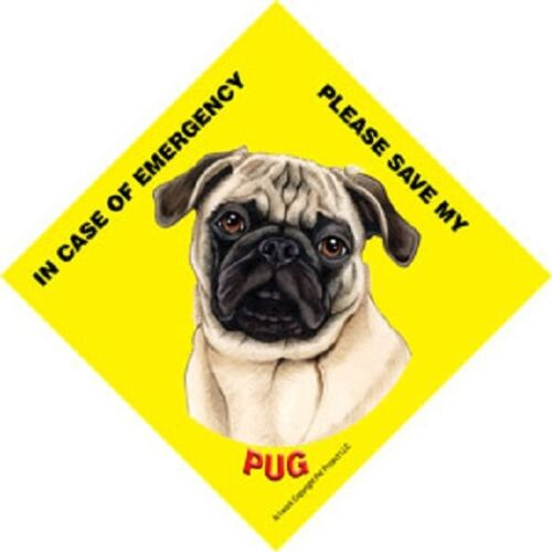 Save My Pet 5x5 Waterproof Emergency Rescue Sign Pug Fawn Tan