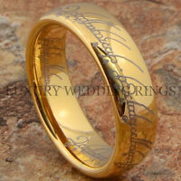 Gold Tungsten Lord The Ring Wedding Band Lotr Men's Bridal Jewelry Size 6-13