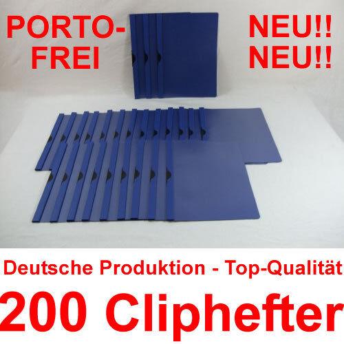 200 Cliphefter Bewerbungsmappen Klemmhefter Mappen für Bewerbung Blau