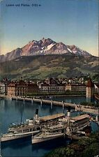 Schiffe ~1910 Schweiz Binnenschiffe Dampfer See bei Luzern mit Pilatus Alpen