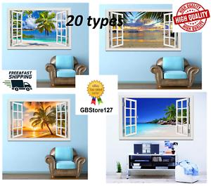 Wall View Window Decal Sticker 3d Art Decor Mural Home Beach Removable Vinyl