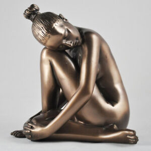 Tranquil-Naked-Figure-Art-Deco-Neuvou-Sculpture-Bronze-Erotic-Statue-H14cm-01108