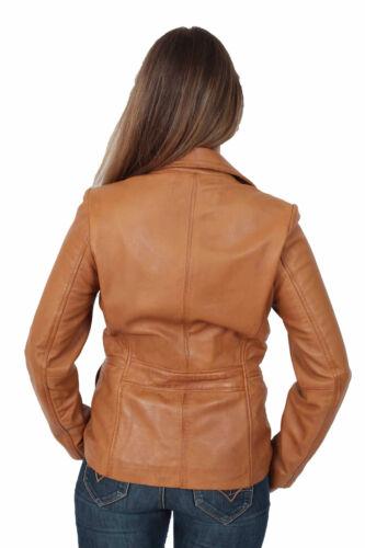 Womens leather blazer Jacket Mina tan classic MOST FAVOURITE hip length COAT new