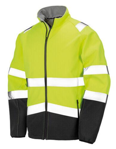 Softshell Sicherheit Jacke Neon Gelb Orange Wasserdicht 8000mm Arbeit Winddicht