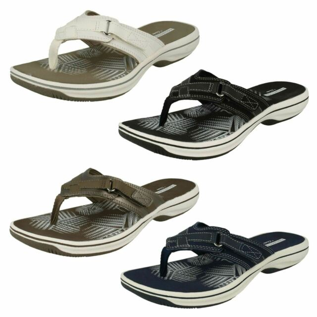 bd97eee6190 Ladies Clarks Brinkley Sea Slip on Toe Post Side Touch Fastener Flip Flop  Sandal