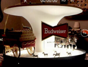 VINTAGE-BUDWEISER-BEER-CLYDESDALE-PARADE-ROTATING-CAROUSEL-BAR-LIGHT-SIGN