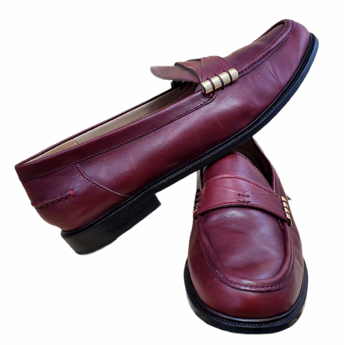 Cole Haan Women's Mazie Tawny Port Leather slip-on Loafer Mini Stacked Heel