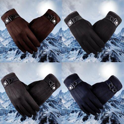 Winter Full Finger Men/'s Gloves Suede Leather Anti Slip Warm Touch Screen Glove