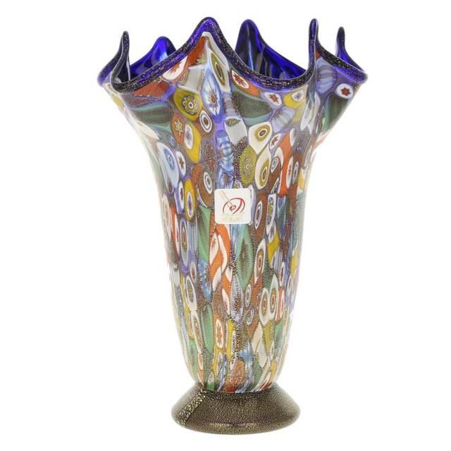 Glassofvenice Murano Glass Millefiori Gold Fazzoletto Vase Cobalt