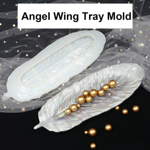DIY Silicone Angel Wing Tray Resin Mold Feather Dishes Plate Jewelry Molds Craft