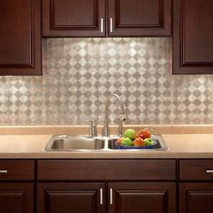 Kitchen Backsplash Decorative Silver Vinyl Panel Wall Tiles Bathroom